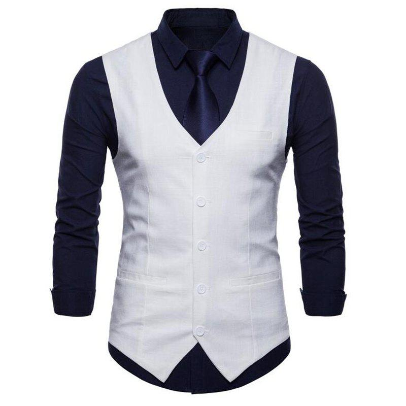 Plus Size Men Pure Color Cotton Suit Vest - WHITE 3XL