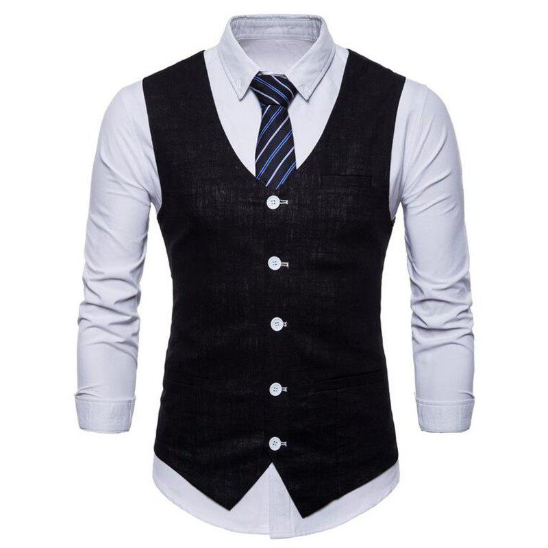 Men Pure Color Cotton Suit Vest - BLACK XL