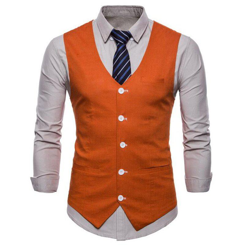Plus Size Men Pure Color Cotton Suit Vest - ORANGE 2XL