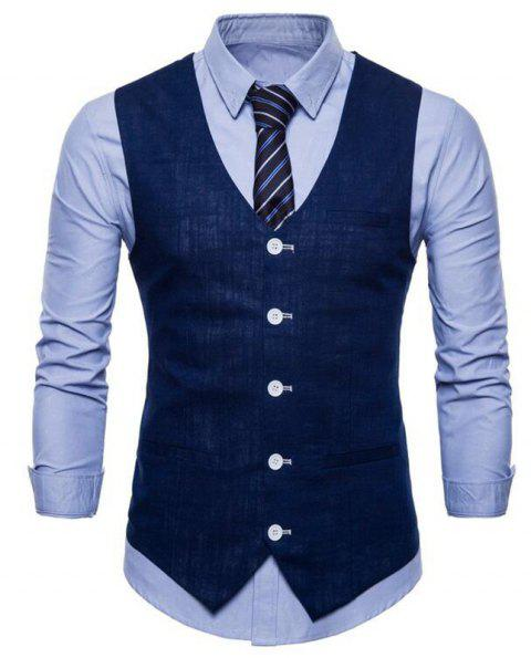 Plus Size Men Pure Color Slim Fit Cotton Suit Vest - DEEP BLUE 2XL