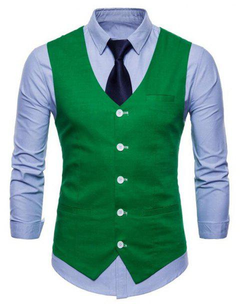 Plus Size Men Pure Color Slim Fit Cotton Suit Vest - GREEN 2XL