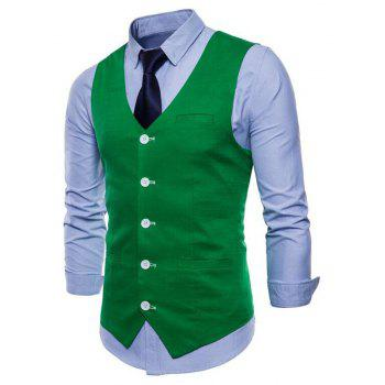 Men Pure Color Slim Fit Cotton Suit Vest - GREEN 3XL