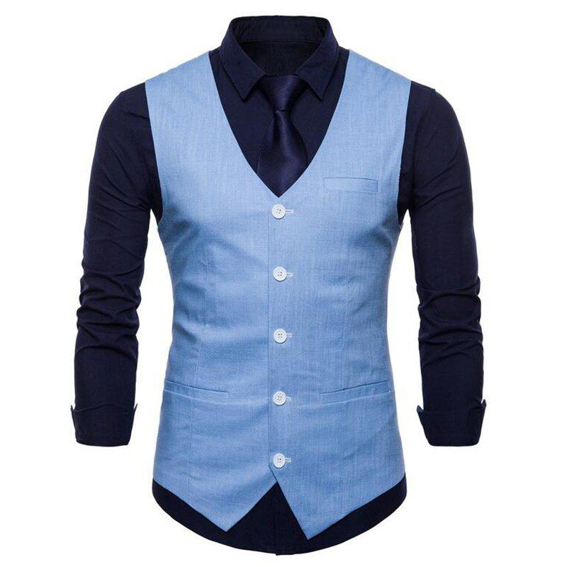 Men Pure Color Slim Fit Cotton Suit Vest - SKY BLUE 2XL