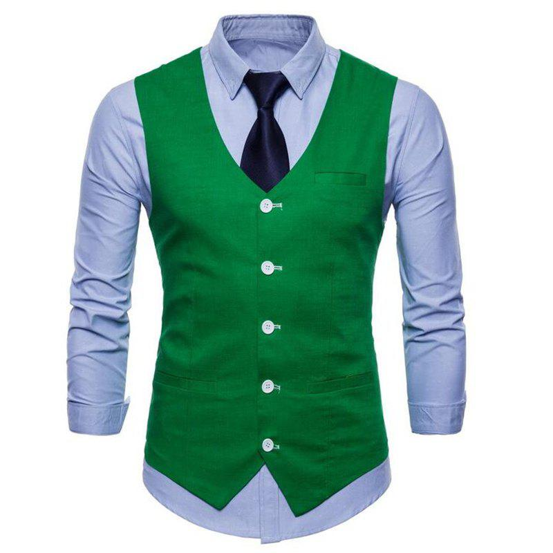 Plus Size Men Pure Color Slim Fit Cotton Suit Vest - GREEN XL