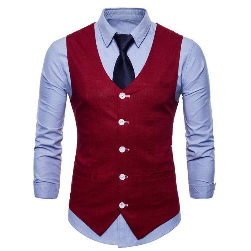 Plus Size Men Pure Color Slim Fit Cotton Suit Vest - RED WINE 4XL