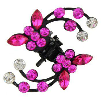 Colorful Rhinestone Branch Flower Hair Claws - ROSE RED