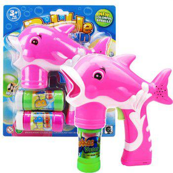 Dolphin Bubble Gun Blower Blaster with Flashing LED Lights Music 2 Refill - PINK