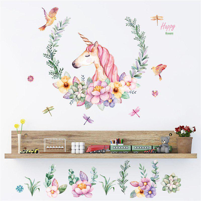 Cartoon Unicorn Petal Birds Stickers Animal Bedroom Wall Paper cute kawaii cartoon animal stickers creative fruit vegetables sticky paper for scrapbooking diary free shipping 994