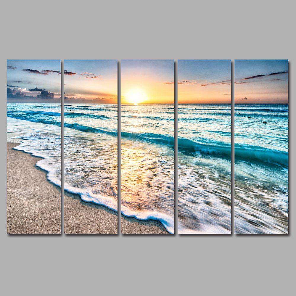 Sunset Beach Frameless Printed Canvas Wall Art Paintings 5PCS world map frameless printed canvas wall art paintings 5pcs