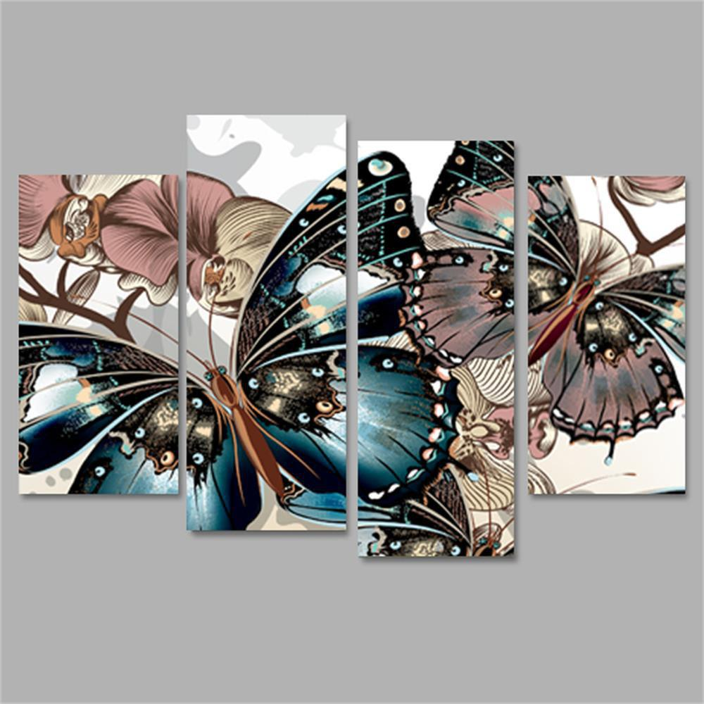 Butterfly Frameless Printed Canvas Wall Art Paintings 4PCS sunset frameless printed canvas wall art paintings 4pcs