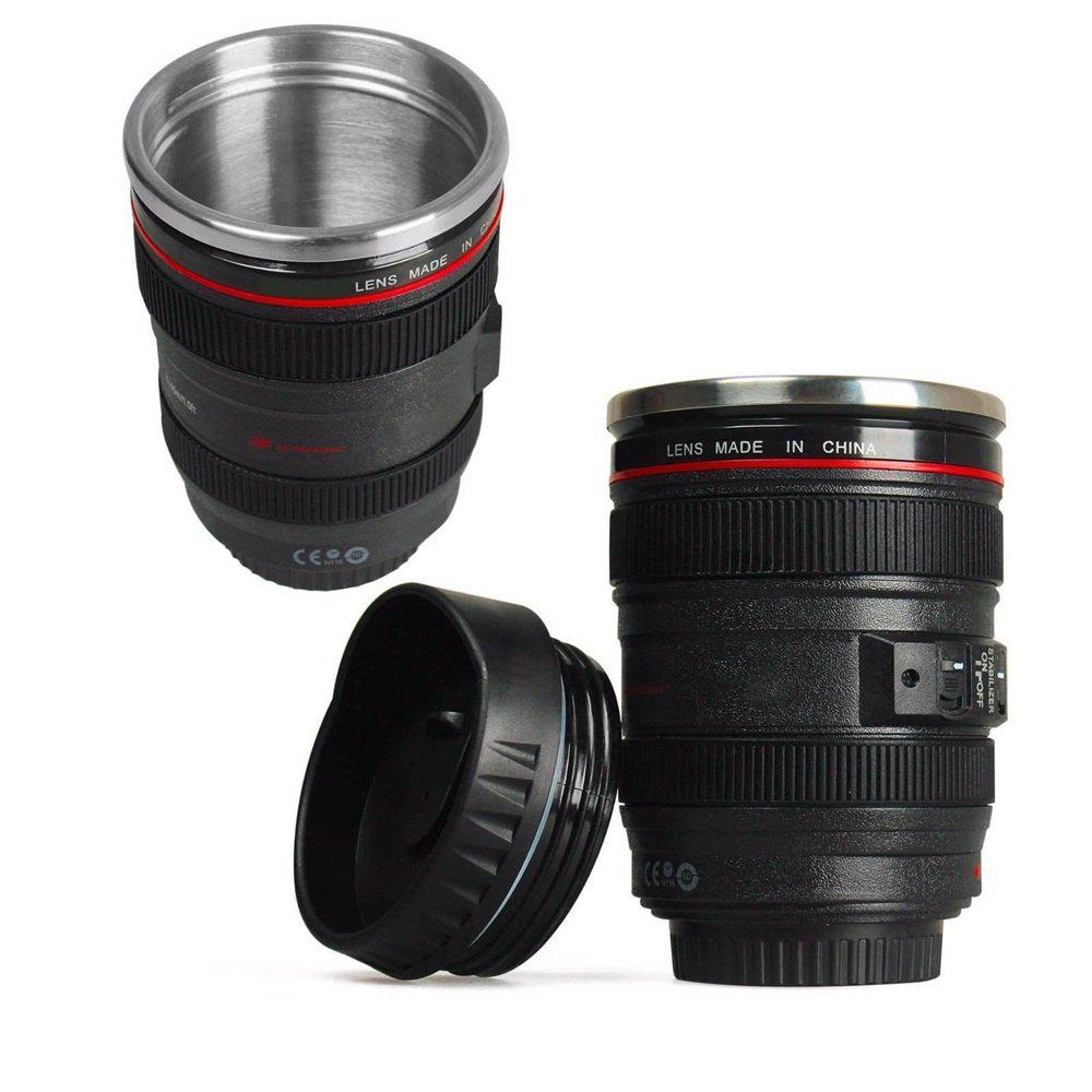 Stainless Leak-Proof Mug Camera Lens Cup Coffee Tea Travel Mug Thermos 400ML dedo mg 395 originality ceramic coffee mug with lid white green 400ml