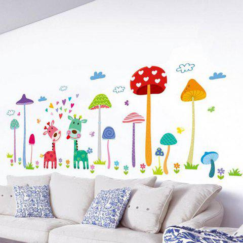 Color Cartoon Mushroom Forest Kindergarten Children Room Decoration Wall Sticker - multicolor