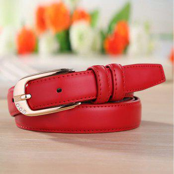 Fashion Casual Leather Wild Trend Ladies Belt - FIRE ENGINE RED