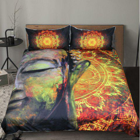Lotus Flower  Bedding Duvet Cover Set Digital Print 3pcs - multicolor KING