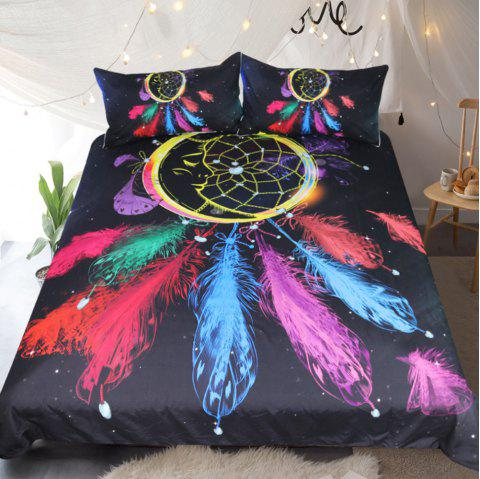 Dreamcatcher Bedding Colorful Feathers Duvet Cover Set Digital Print 3pcs - multicolor QUEEN
