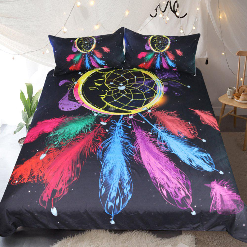 Dreamcatcher Bedding Colorful Feathers Duvet Cover Set Digital Print 3pcs - multicolor FULL