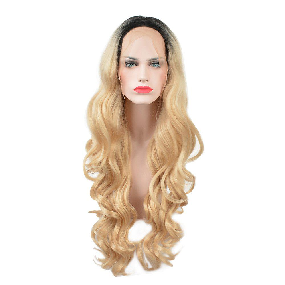 Glueless Synthetic Blonde Ombre Lace Front Long Wavy Wigs African American Women long ombre blonde wavy wig cheap good quality for sale heat resistant synthetic lace front wig for black women natural looking