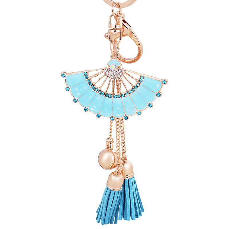 Fashion Girl Bag Pendant Fan Shape Tassels Key Chain Car Ornaments - POWDER BLUE