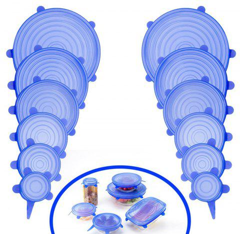 12 PCS Silicone Stretch Lid Expandable Food Saver Cover for Bowel - DODGER BLUE