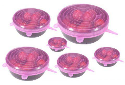 12 PCS Silicone Stretch Lid Expandable Food Saver Cover for Bowel - HOT PINK