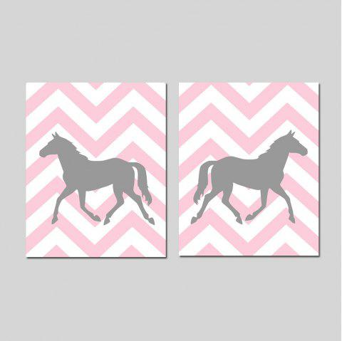 Modern Nordic Living Room Bedroom Background Wall Pony Decorative Print 2PCS - multicolor 16 X 24 INCH (40CM X 60CM)