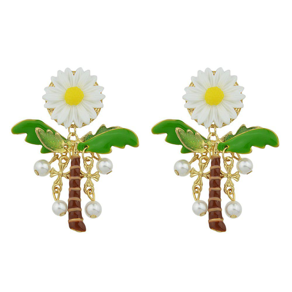 Simulated-pearl Cross Plant Flower Party Drop Earrings - GREEN SNAKE