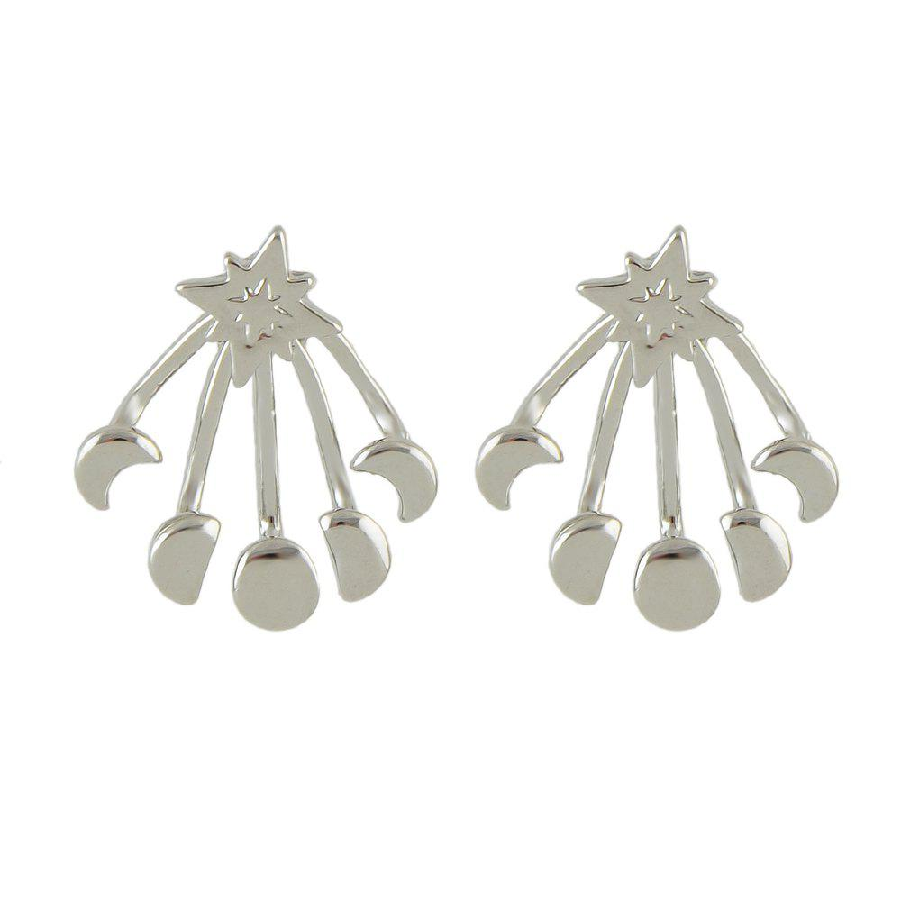 Silver Color Gold-color Star Stud Earrings - SILVER