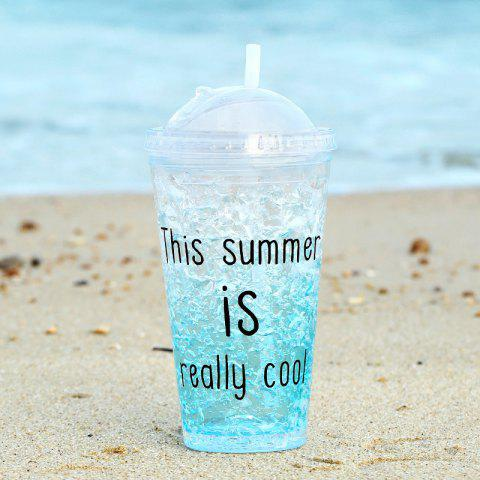 Summer Cola Shake Cup Healthy Seal Letter Plastic Cup - SKY BLUE 550ML