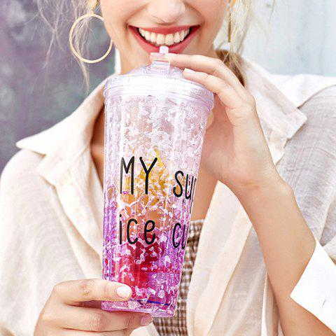 Summer Cola Shake Cup Healthy Seal Letter Plastic Cup - PURPLE DAFFODIL 450ML