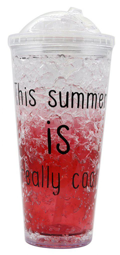 Summer Cola Shake Cup Healthy Seal Letter Plastic Cup - LOVE RED 450ML