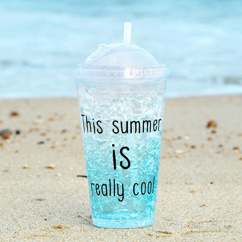 Summer Cola Shake Cup Healthy Seal Letter Plastic Cup - SKY BLUE 450ML