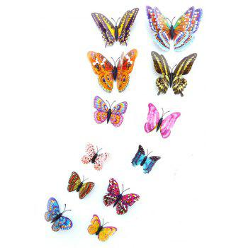 12 pcs 3D double couche papillons lumineux coloré Home Decor Wall Sticker - multicolor A