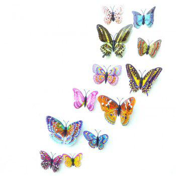 12 pcs 3D  Double Layer Luminous Butterflies Colorful Home Decor Wall Sticker - multicolor A