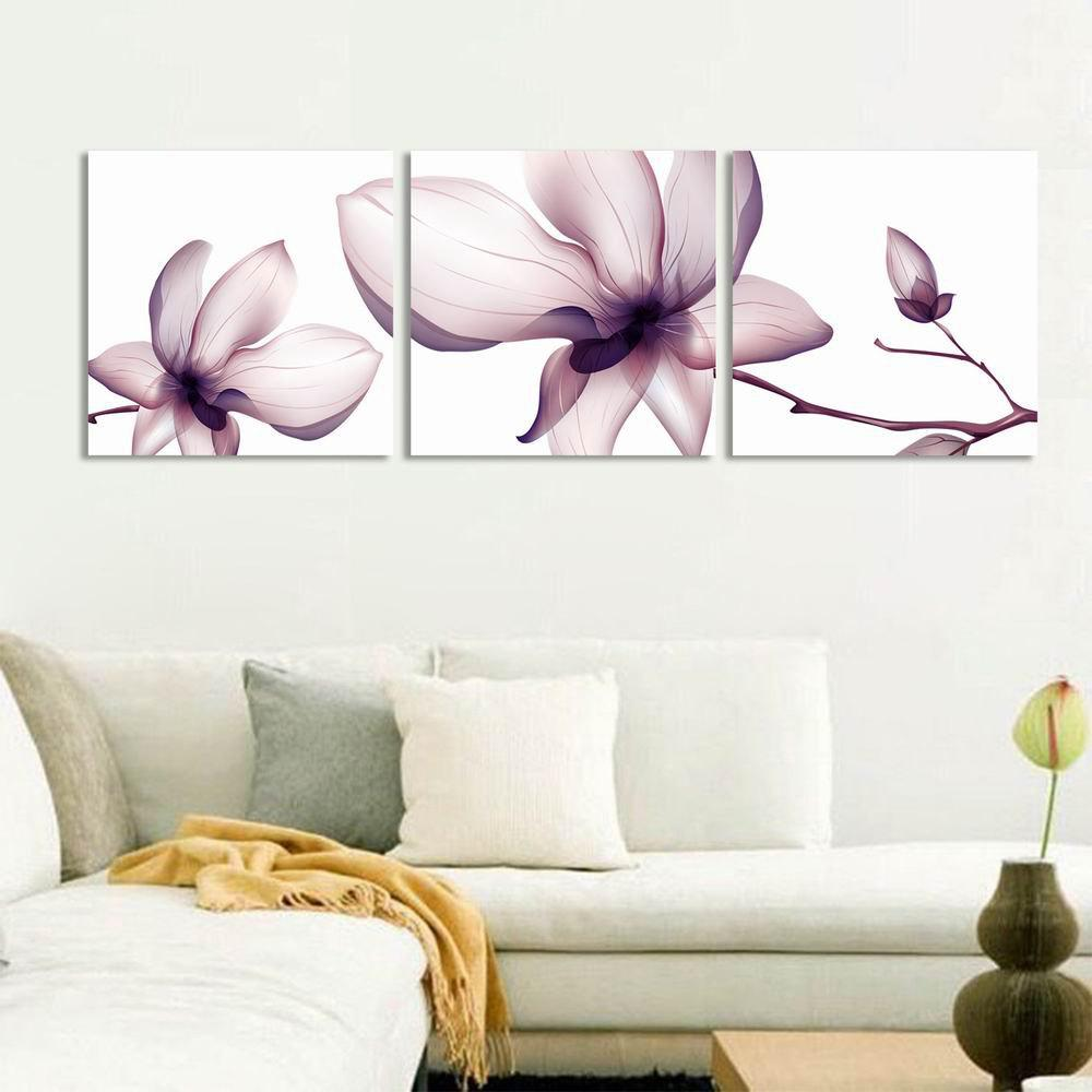 W284 Flowers Frameless Art Wall Canvas Prints For Home Office Decorations 3 Pcs Multicolor A
