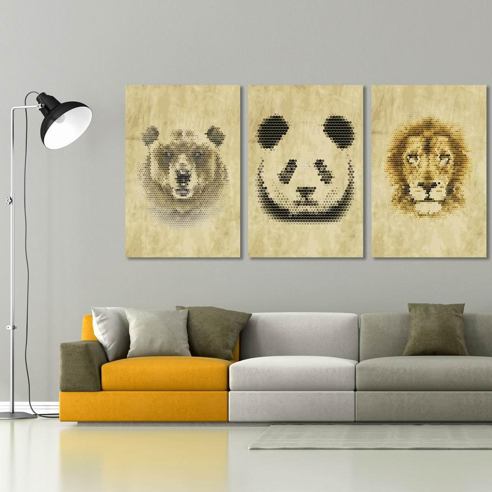 W285 Panda Lion Bear Unframed Art Wall Canvas Prints for Home Decorations 3 PCS family wall quote removable wall stickers home decal art mural