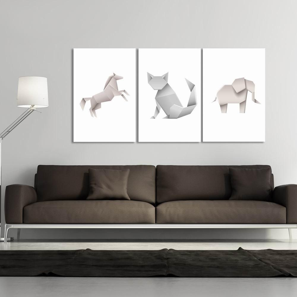 W286 Origami Animals Unframed Art Wall Canvas Prints for Home Decorations 3 PCS - multicolor A 40CM X 60CM X 3PCS