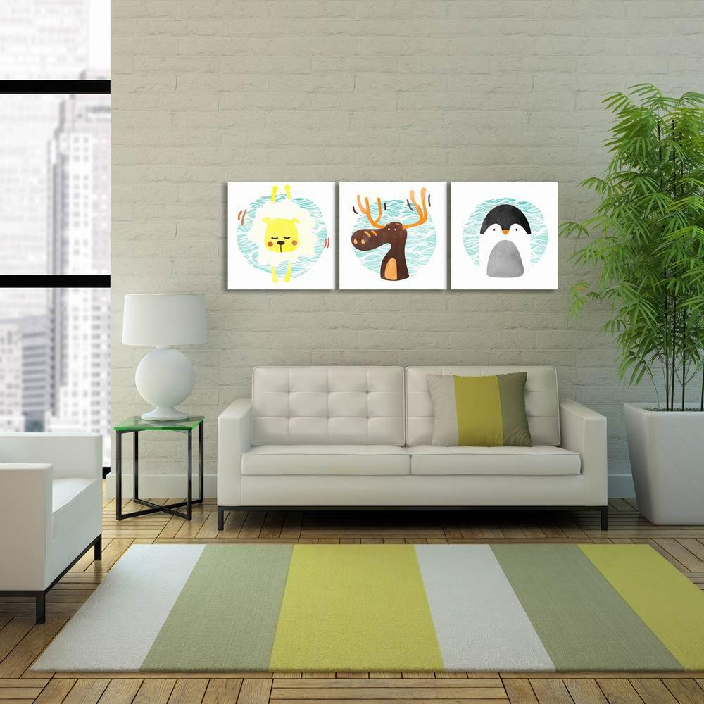 W287 Cute Cartoon Animals Unframed Art Canvas Prints for Home Decorations 3 PCS - multicolor A 50CM X 50CM X 3PCS