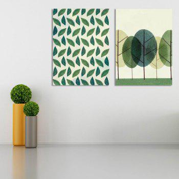 W293 Leaves and Tree Unframed Art Wall Canvas Prints for Home Decorations 2PCS - multicolor A 56CM X 76CM X 2PC
