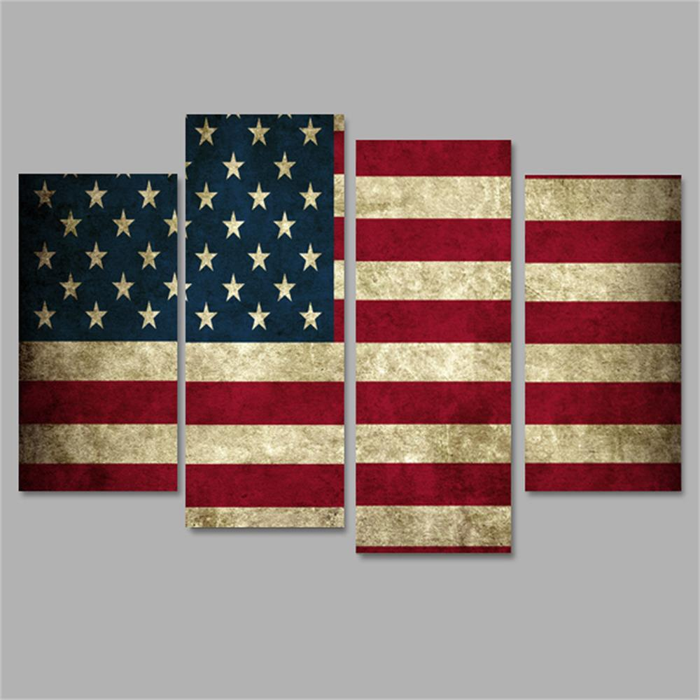 Stars and Stripes Frameless Printed Canvas Wall Art Paintings 4PCS sunset frameless printed canvas wall art paintings 4pcs