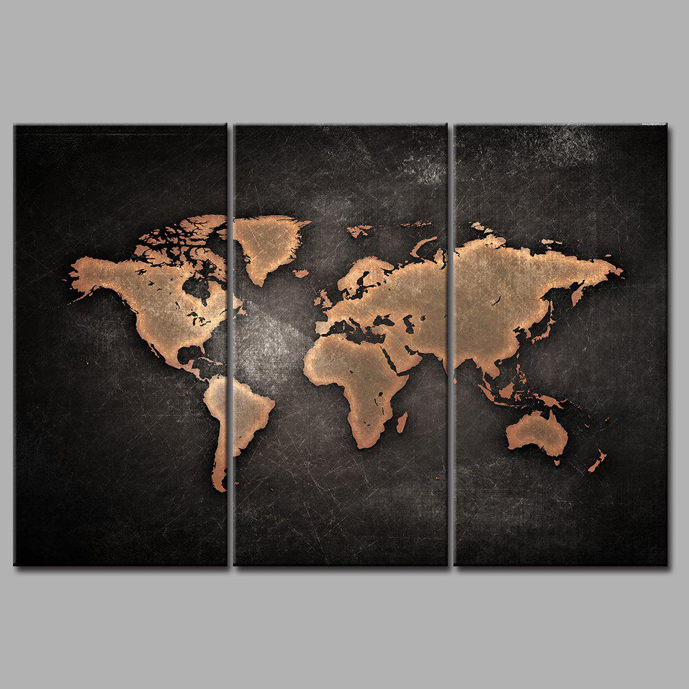 World Map Frameless Printed Canvas Wall Art Paintings 3PCS sunset frameless printed canvas wall art paintings 4pcs