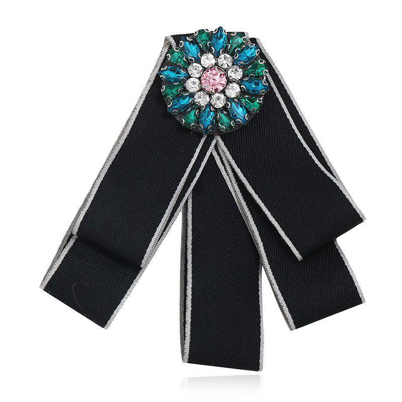 Fashion Brooches Pins Collar Flower And Bow Tie College Women - BLACK