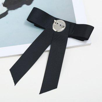 Fashion Crystal Rushed Pin Manual Bow Brooch for Women Gift - BLACK