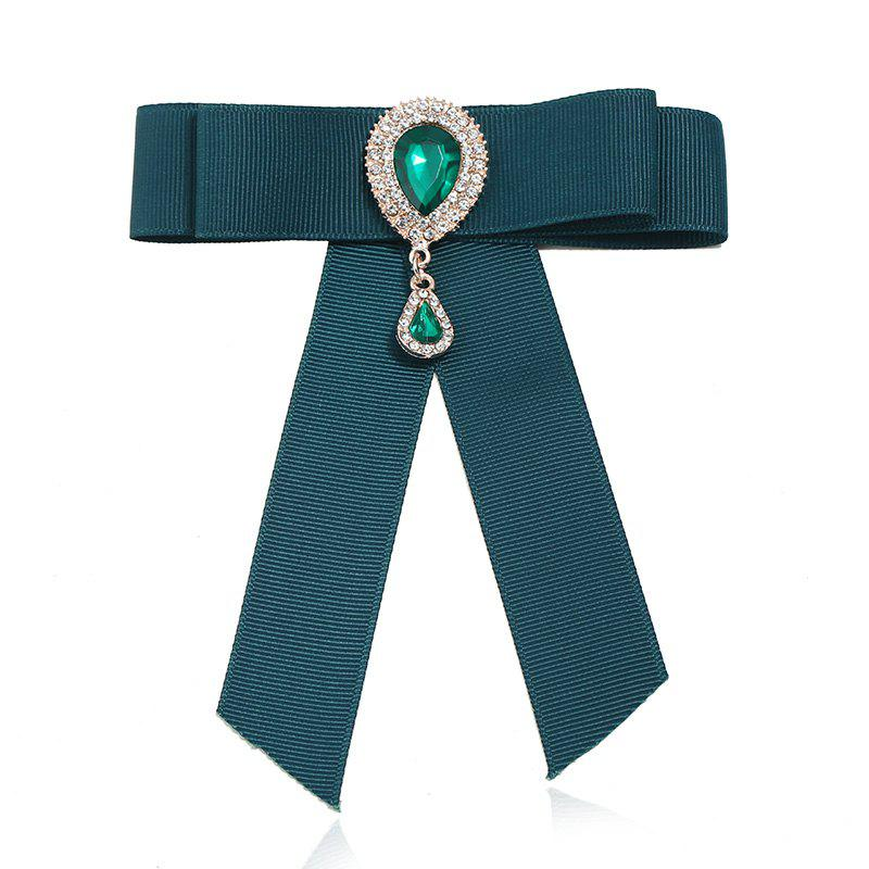 Fashion Crystal Rushed Pin Manual Bow Brooch for Women Gift - MEDIUM SEA GREEN