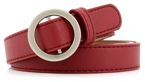 Simple Round Buckle Fine Leather Ladies Wild Belt - VALENTINE RED