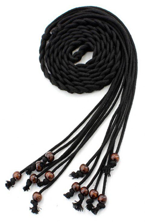 Literary Wax Rope Ethnic Style Tassel Knotted Belt - BLACK