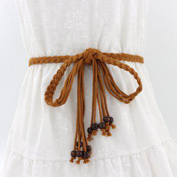 Literary Wax Rope Ethnic Style Tassel Knotted Belt - CAMEL BROWN
