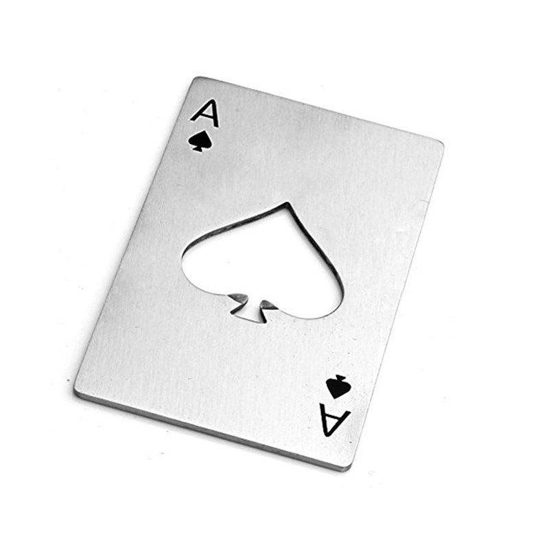 Silver Creative Playing Cards Spades A Shape Stainless Steel Bottle Opener creative foot shape bottle opener silver