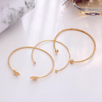 3PCS Fashion Personality Leaf Opening Female Bracelet - GOLD