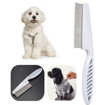 Stainless Steel Needle Pet Dog Cat Remove Fleas Comb - WHITE