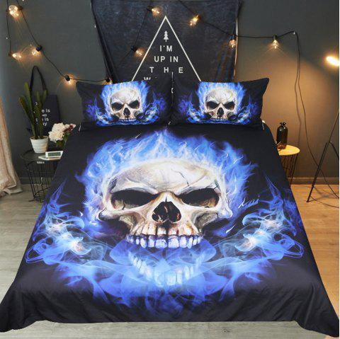 Blue Flame Bedding Duvet Cover Set Digital Print 3pcs - multicolor FULL